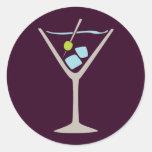 Martini Glass Round Stickers