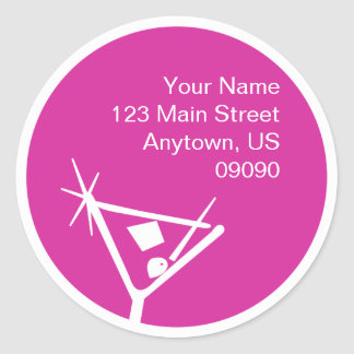 Martini Glass Silhouette Address Label (Raspberry) Classic Round Sticker