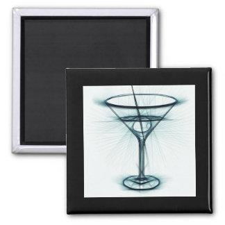 Martini Glass Sketch 2 Inch Square Magnet
