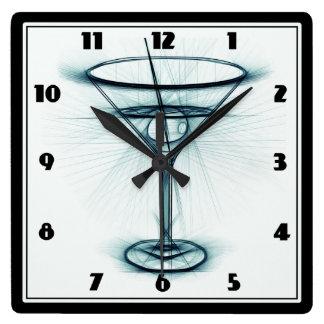 Martini Glass Sketch Square Wall Clocks