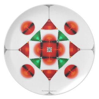 Martini glass snowflake melamine plate