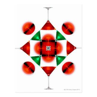 Martini glass snowflake postcard