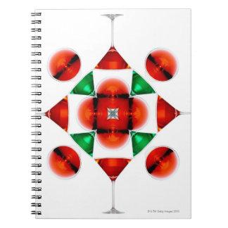 Martini glass snowflake spiral notebook