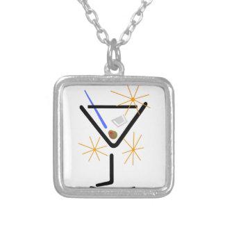 Martini Glass Square Pendant Necklace