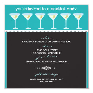 Martini Glasses Cocktail Party Invitation (aqua)