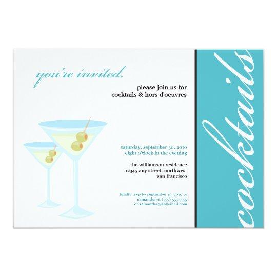 Martini Glasses Cocktail Party Invitation (aqua)
