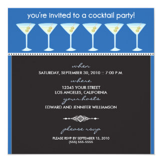 Martini Glasses Cocktail Party Invitation (blue)