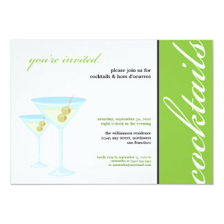 """Martini Glasses Cocktail Party Invitation (green) 5"""" X 7"""" Invitation Card"""