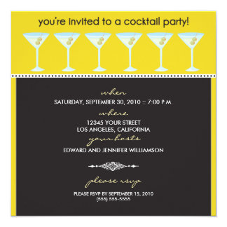 Martini Glasses Cocktail Party Invitation (lemon)