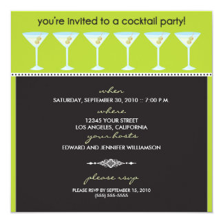"""Martini Glasses Cocktail Party Invitation (lime) 5.25"""" Square Invitation Card"""