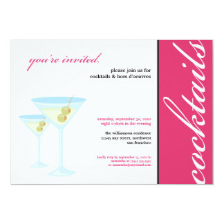 Martini Glasses Cocktail Party Invitation (pink)
