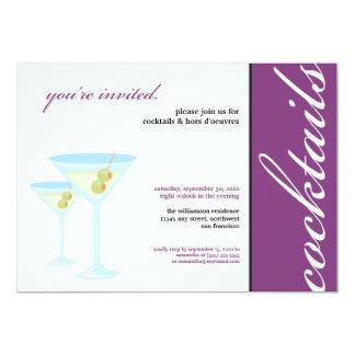 """Martini Glasses Cocktail Party Invitation (purple) 5"""" X 7"""" Invitation Card"""