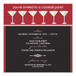 Martini Glasses Cocktail Party Invitation (red)