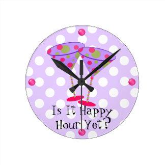 Martini Glasses Happy Hour Wall Clock