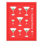 """Martini Glasses Red Cocktail Party All Occasion 4.25"""" X 5.5"""" Invitation Card"""