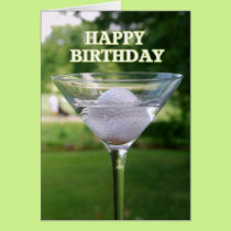 Martini Golf Ball Happy Birthday Card