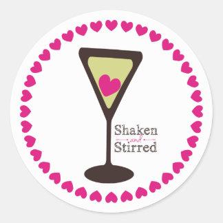 martini heart shaken and stirred Valentines Day Classic Round Sticker