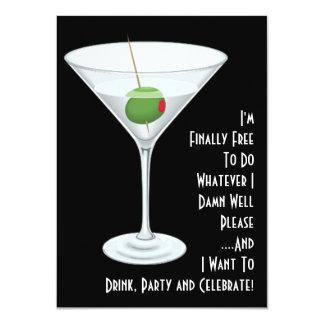 """Martini libera en el último que soy fiesta invitación 4.5"""" x 6.25"""""""