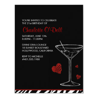 martini | love/ heart; birthday party announcement
