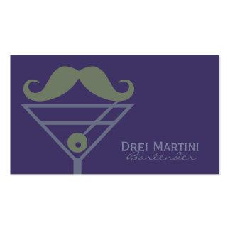 """Martini Mustache"" Bartender custom business cards"