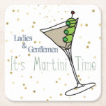 """Martini O&#39;Clock Paper Coasters<br><div class=""""desc"""">A fun,  martini time paper coaster for casual get-togethers and dinner parties.  Complete with a splash of gold confetti for good measure!</div>"""
