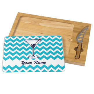 Martini Pictogram with Blue Chevron Pattern Cheese Platter