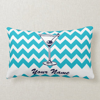 Martini Pictogram with Blue Chevron Pattern Lumbar Pillow