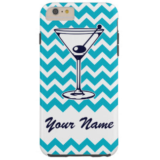 Martini Pictogram with Blue Chevron Pattern Tough iPhone 6 Plus Case