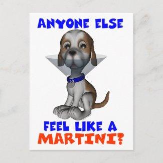 Martini Pup Postcard