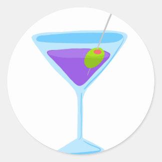 Martini púrpura pegatina redonda
