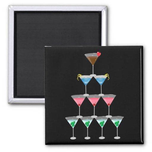 Martini Pyramid 2 Inch Square Magnet
