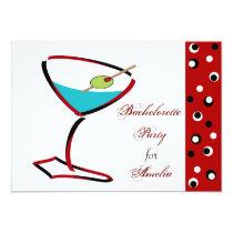 Martini red Fun Bachelorette Party Invitations