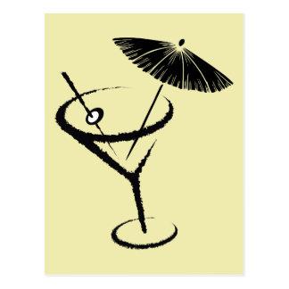 Martini ~ Retro Cocktail Drink Olive & Umbrella Postcard