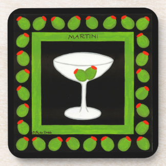 Martini Retro Drink Art Green Olives on Black Coaster