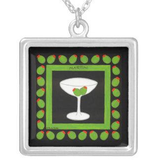 Martini Retro Drink Art Green Olives on Black Square Pendant Necklace
