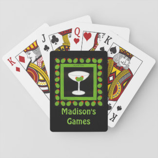 Martini Retro Drink Art Green Olives on Black Card Decks