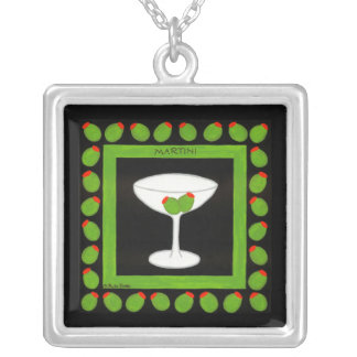Martini Retro Drink Art Green Olives on Black Silver Plated Necklace