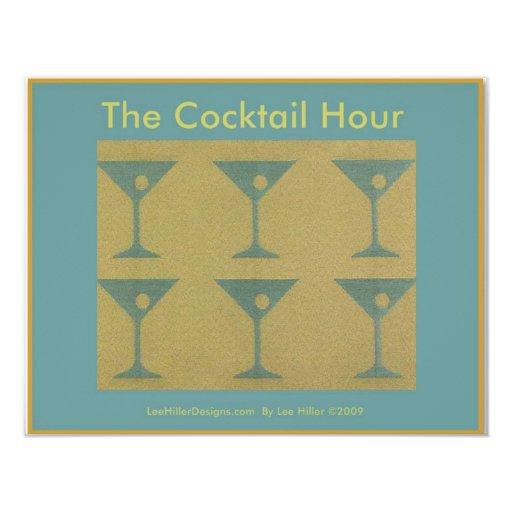 """Martini retro ropa de los regalos """"de la hora del invitación 4.25"""" x 5.5"""""""