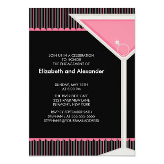 Martini Ring Cocktail Engagement Party Invitation