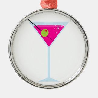Martini rosado adorno navideño redondo de metal