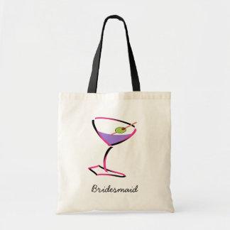 martini rosado enrrollado bolsas lienzo