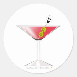 Martini sangriento divertido con el cráneo pegatina redonda