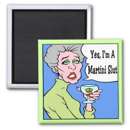Martini Slut Cartoon 2 Inch Square Magnet