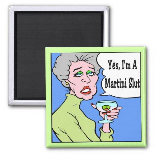 Martini Slut Cartoon Refrigerator Magnet