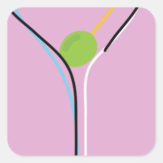 Martini Square Sticker