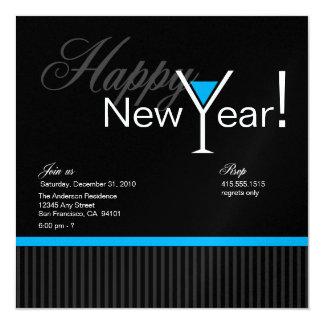 Martini Stripe New Year's Eve Invitation (blue)