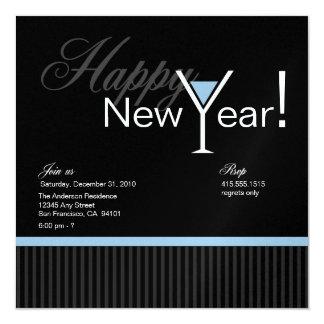Martini Stripe New Year's Eve Invitation (blue 2)