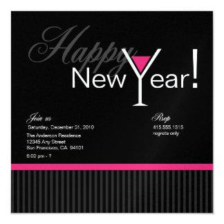 Martini Stripe New Year's Eve Invitation (fuschia)
