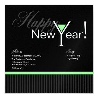 Martini Stripe New Year's Eve Invitation (green)