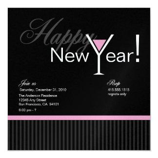 Martini Stripe New Year's Eve Invitation (pink)